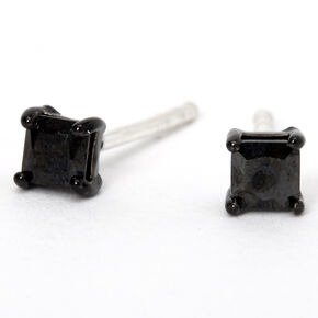 Sterling Silver Cubic Zirconia 3MM Square Stud Earrings - Black,