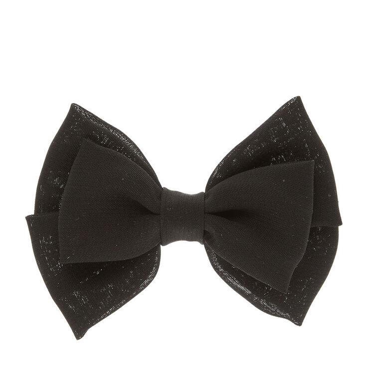 Black Double Layered  Chiffon Bow Hair Clip,
