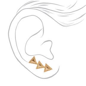 Gold Tone Triangle Trio Ear Crawlers,
