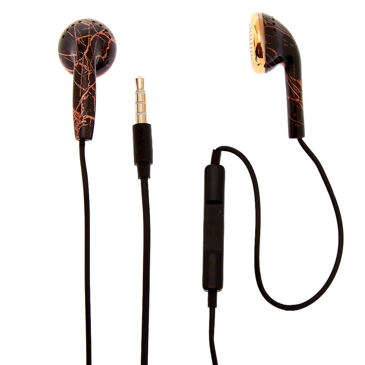 Metallic Rose Gold Marble Earbuds - Black,