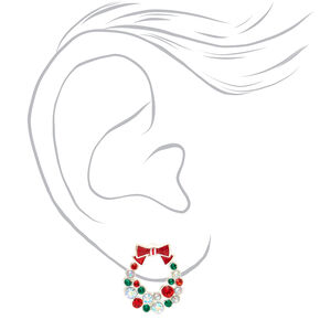 Silver Embellished Wreath Stud Earrings,