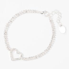 Silver Rhinestone Open Heart Chain Bracelet,