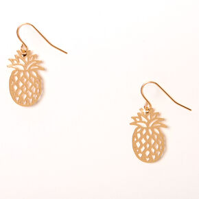"Gold 1"" Filigree Pineapple Drop Earrings,"