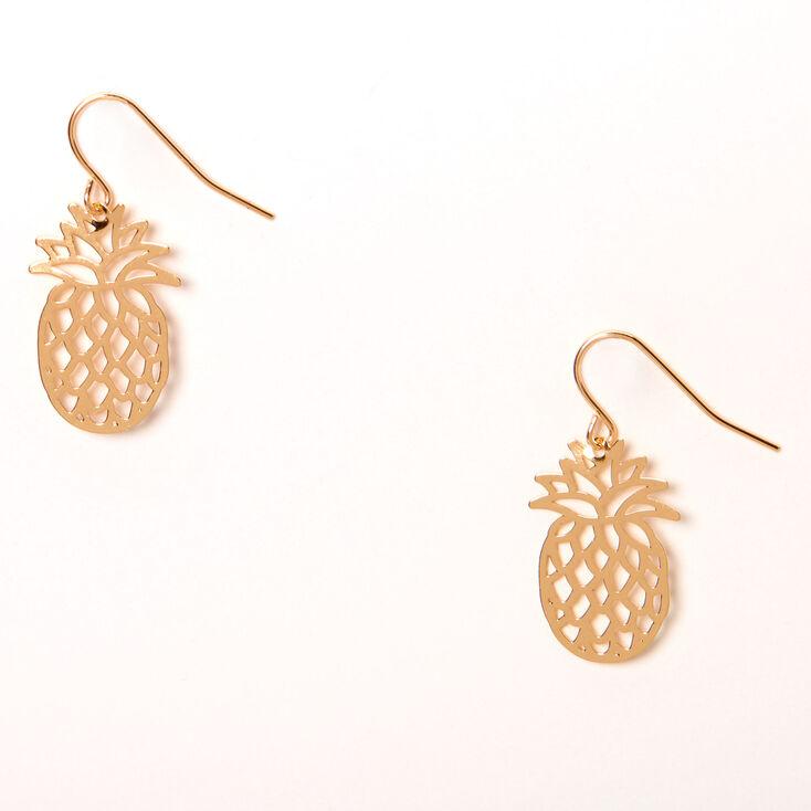 "Gold 1"" Filigree Pineapple Drop Earrings,"