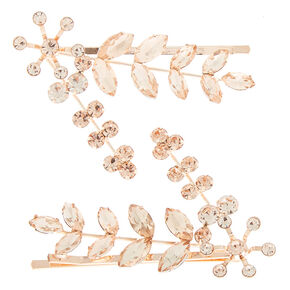 Rose Gold Leaf Bobby Pins - 2 Pack,