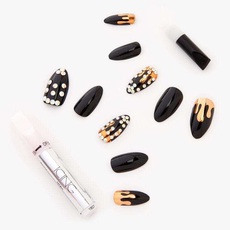 Bling Golden Drip Stiletto Faux Nail Set - Black, 24 Pack,