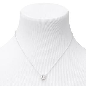 Silver Round Halo Cubic Zirconia Pendant Necklace,
