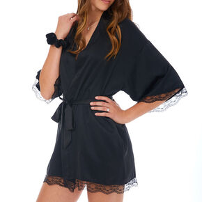 Black Lace Trim Satin Robe - L/XL,