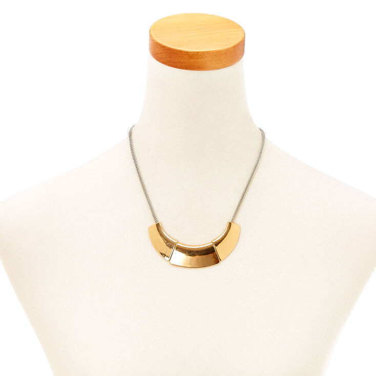3 Plate Gold & Silver Statement Necklace,