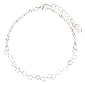 Silver Tone Cut Out Stars Chain Anklet,