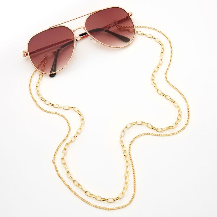 Gold Double Strand Sunglasses Chain,