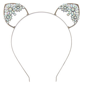 Hematite Floral Gem Cat Ears Headband,