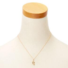 Gold Snake Pendant Necklace,