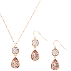 Rose Gold Teardrop Jewelry Set - Blush, 2 Pack,