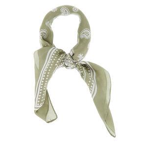 Silky Paisley Bandana Headwrap - Sage Green,
