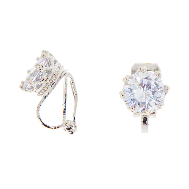 Silver Cubic Zirconia Round Clip On Stud Earrings - 8MM,