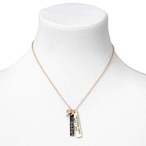 Gold Rectangular Zodiac Pendant Necklace - Aries,