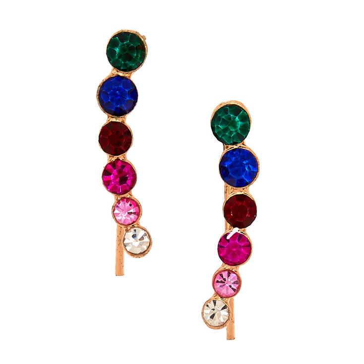 """Rose Gold 1"""" Rainbow Graduated Crystal Ear Crawler Earrings,"""