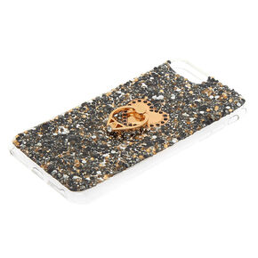 Black Crushed Stone Phone Case with Ring Stand - Rose Gold,