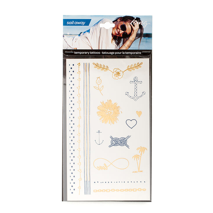 Sail Away Navy & Gold Metallic Body Tattoos,
