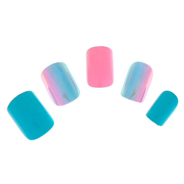 Ombre Pink & Mint Faux Nails - 24 Pack,