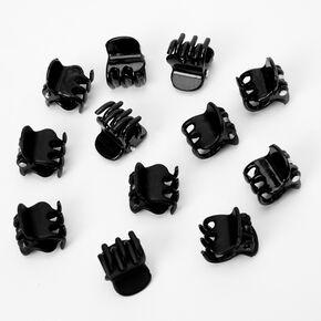 Matte Shiny Mini Hair Claws - Black, 12 Pack,