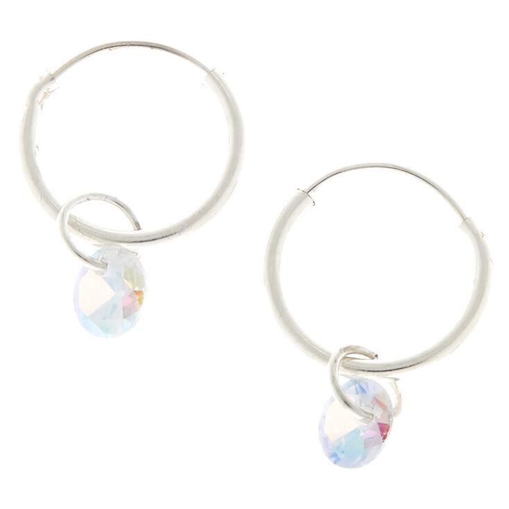Silver Cubic Zirconia 10MM Gem Hoop Earrings,