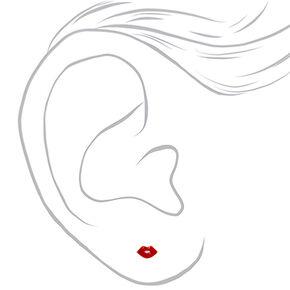 Gold Lips Stud Earrings - Red,