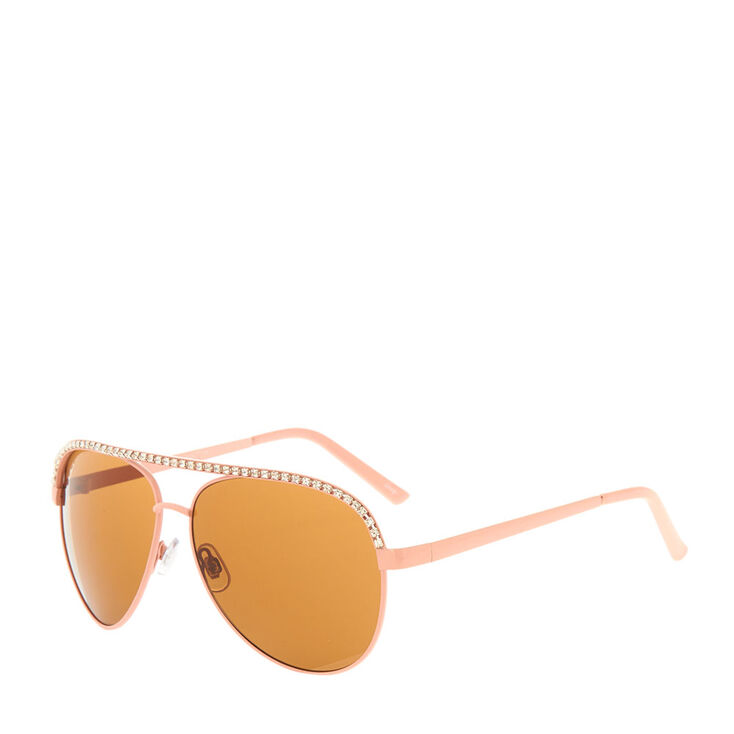 Crystal Pink Aviator Sunglasses,