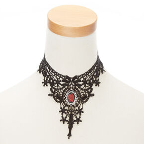Lace Rose Choker Necklace - Black,