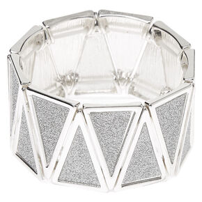 Silver Glitter Triangle Stretch Bracelet,
