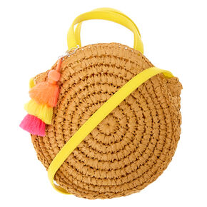 Rattan Round Straw Crossbody Bag - Tan,