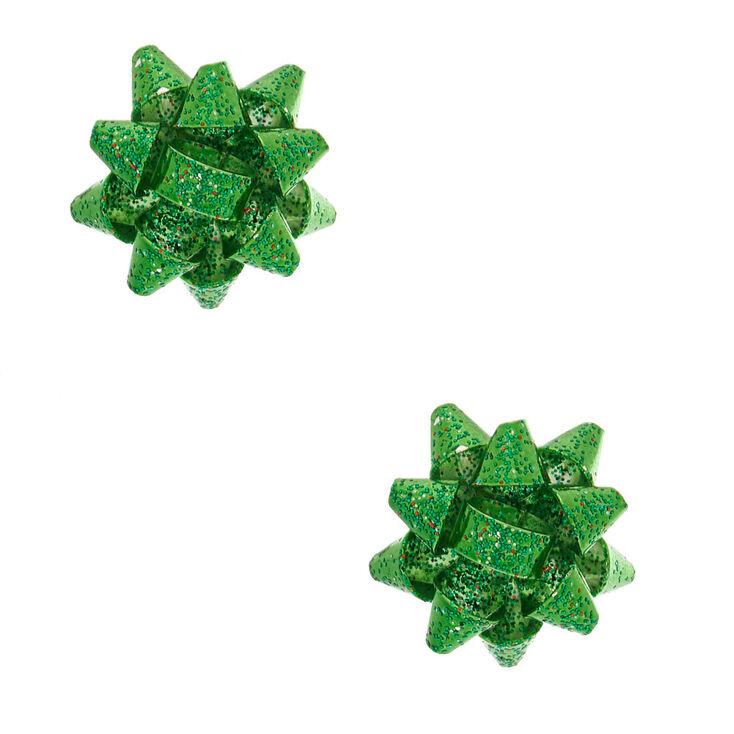 Glitter Bow Stud Earrings - Green,