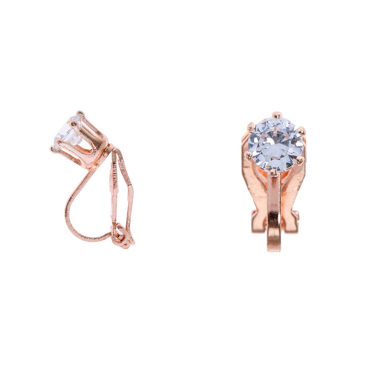 Rose Gold Cubic Zirconia 5MM Round Clip On Stud Earrings,
