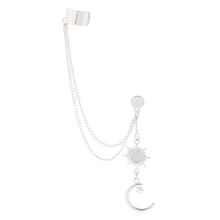 Silver Tone Celestial Chain Ear Cuff & Drop Earring Set,