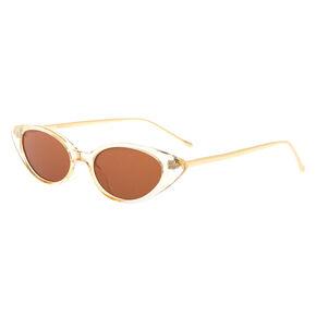 Gold Slim Cat Eye Sunglasses - Brown,