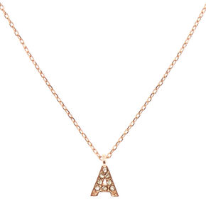 "Rose Gold-Tone ""A"" Initial Pendant Necklace,"