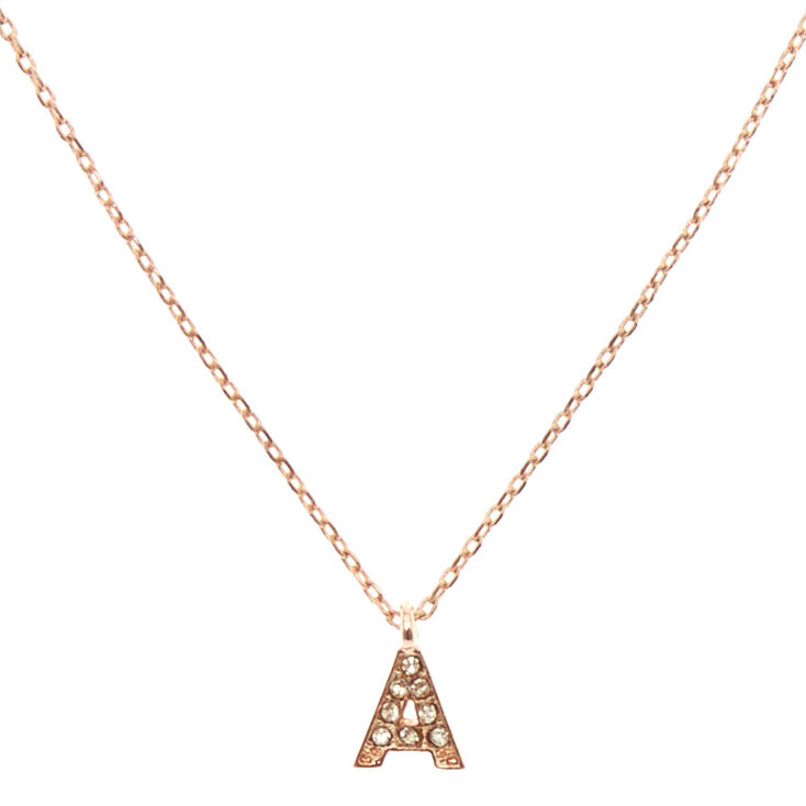 """Rose Gold-Tone """"A"""" Initial Pendant Necklace,"""
