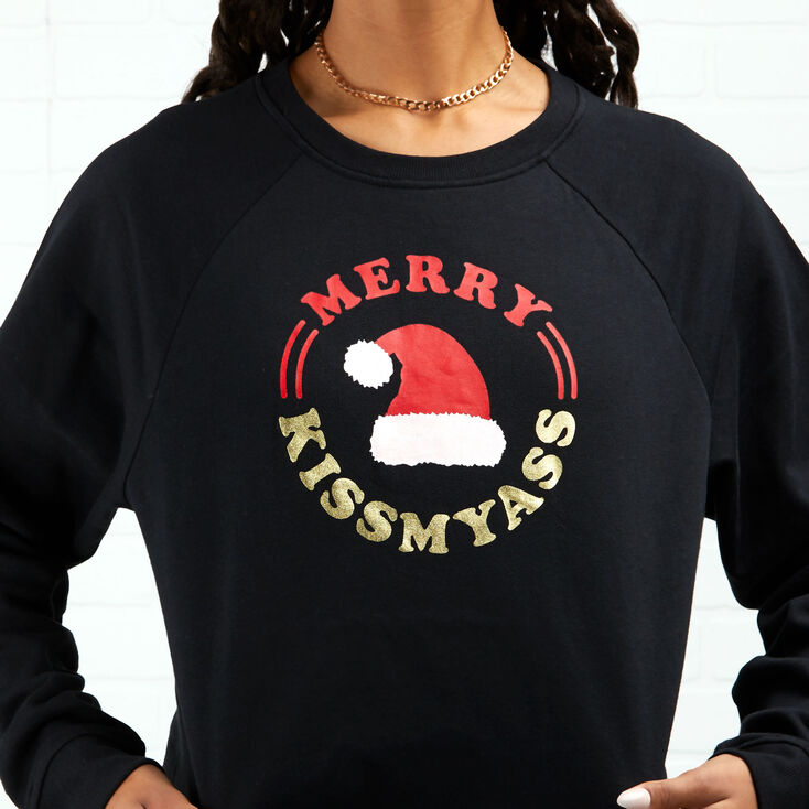 Merry Kiss My Ass Sweatshirt - Black,