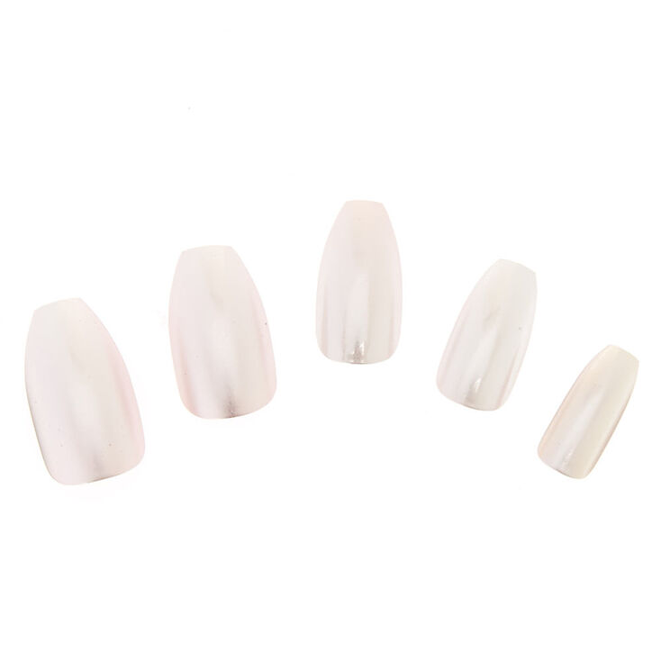 Pink Satin Coffin Instant Nails,