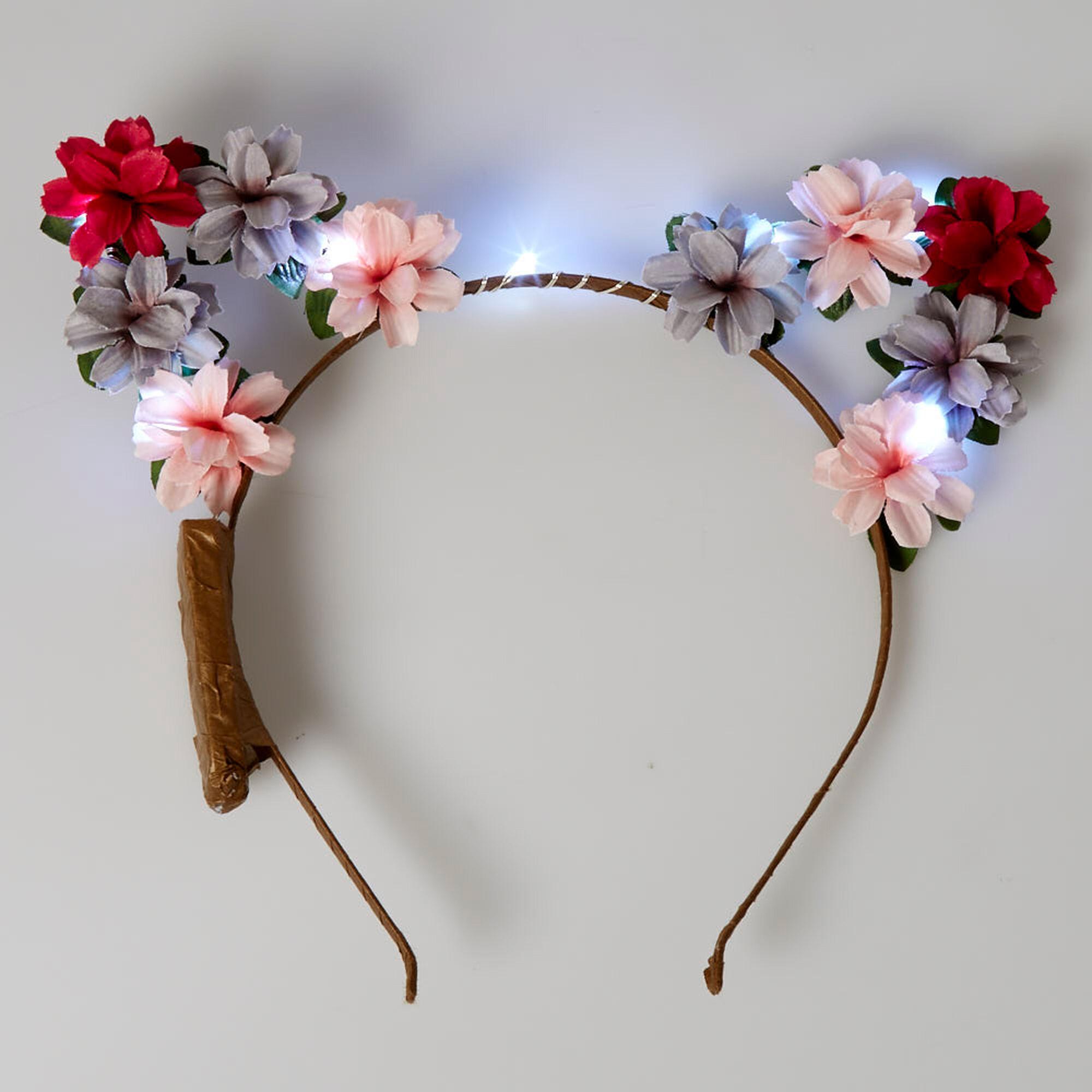 Light Up Pink Flower Cat Ear Headband Icing Ca