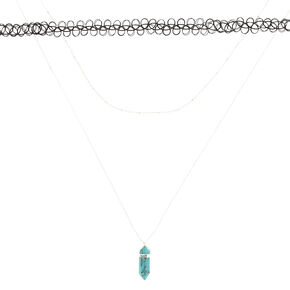 Turquoise Marble Stone Necklace Set,