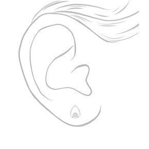 Silver Pearl Teardrop Stud Earrings,