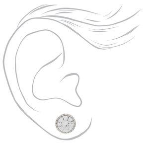 Silver Cubic Zirconia 8MM Vintage Round Stud Earrings,