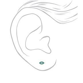 Gold Evil Eye Stud Earrings - Turquoise,