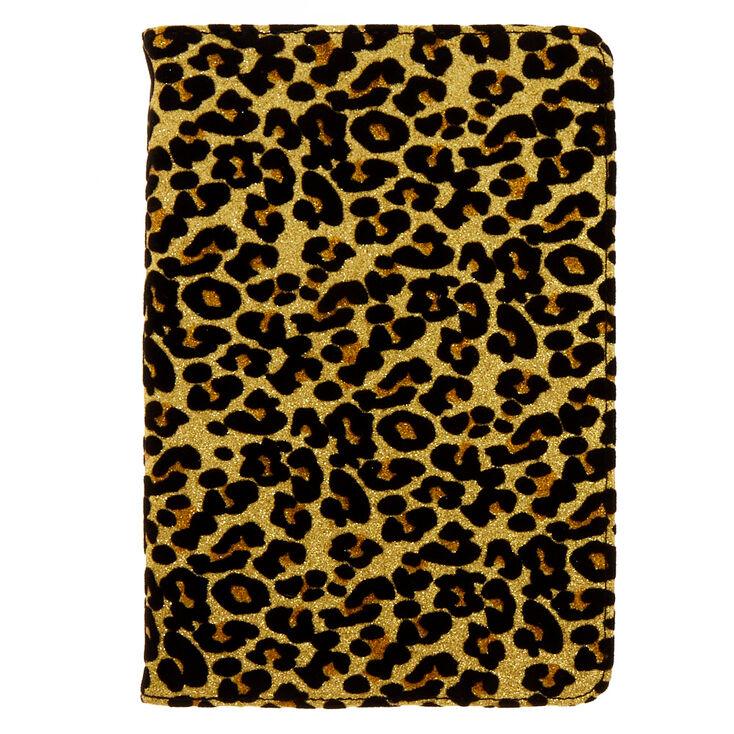 "8"" Gold Glitter Leopard Universal Tablet Folio Case,"