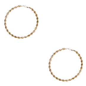100mm Twisted Roped Gold Tone Hoop Earrings,