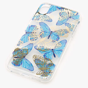 Blue Butterfly Protective Phone Case - Fits iPhone XR,