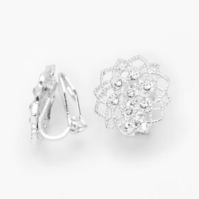 Silver Embellished Wired Flower Clip On Stud Earrings,