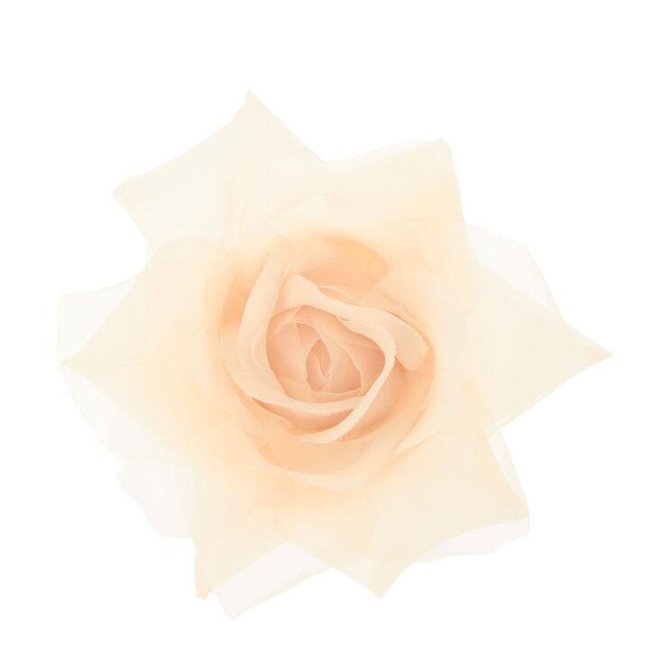 Cream  Chiffon Rose Hair Clip,